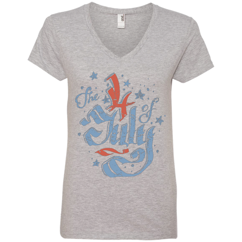 The 4th of July. Faded Ribbon Script. Women's: Anvil Ladies' V-Neck T-Shirt.