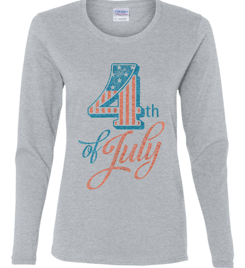4th of July. Faded Grunge. Women's: Gildan Ladies Cotton Long Sleeve Shirt.-3