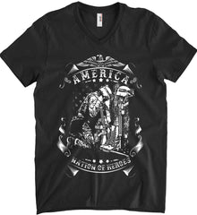 America A Nation of Heroes. Kneeling Soldier. White Print. Anvil Men's Printed V-Neck T-Shirt.