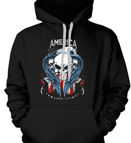 America. Punisher Skull and Bones. Since 1776. Gildan Heavyweight Pullover Fleece Sweatshirt.