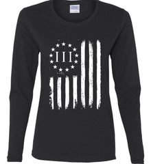 Three Percent on American Flag. White Print. Women's: Gildan Ladies Cotton Long Sleeve Shirt.