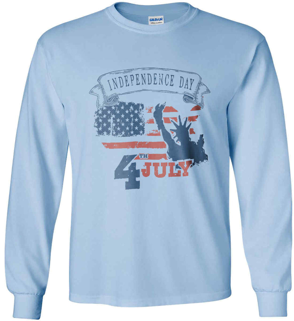 4th of July. Faded Grunge. Statue of Liberty. Gildan Ultra Cotton Long Sleeve Shirt.-5