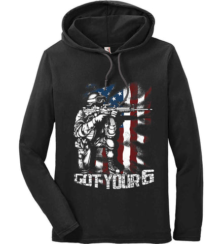 Got Your Six. Soldier Flag. Anvil Long Sleeve T-Shirt Hoodie.