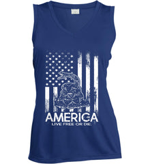 America. Live Free or Die. Don't Tread on Me. White Print. Women's: Sport-Tek Ladies' Sleeveless Moisture Absorbing V-Neck.