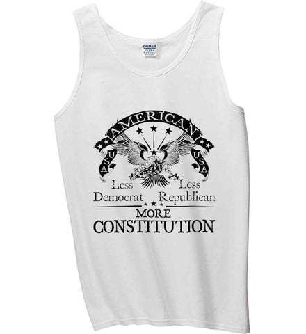 America: Less Democrat - Less Republican. More Constitution. Black Print Gildan 100% Cotton Tank Top.