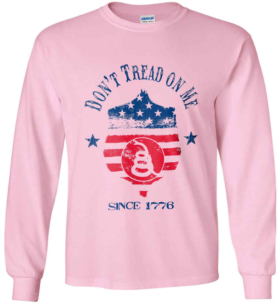 Don't Tread on Me. Snake on Shield. Red, White and Blue. Gildan Ultra Cotton Long Sleeve Shirt.-6