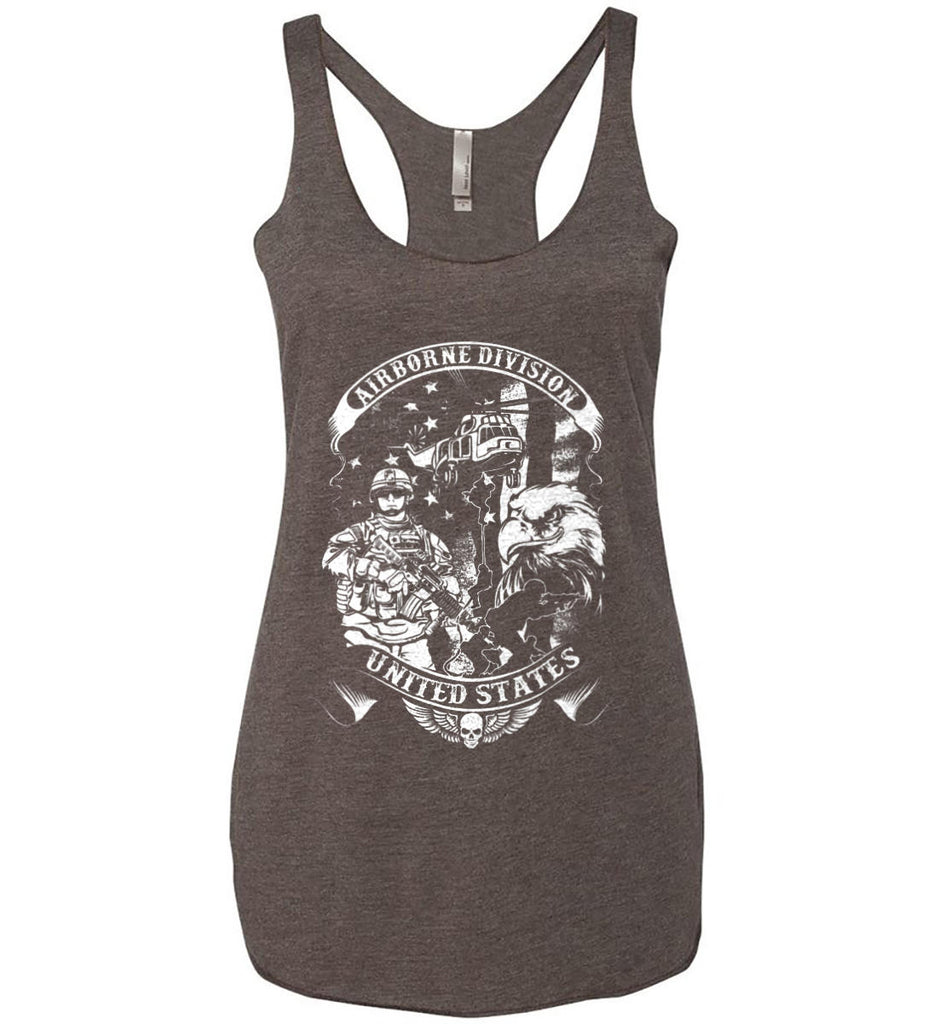 Airborne Division. United States. White Print. Women's: Next Level Ladies Ideal Racerback Tank.-7