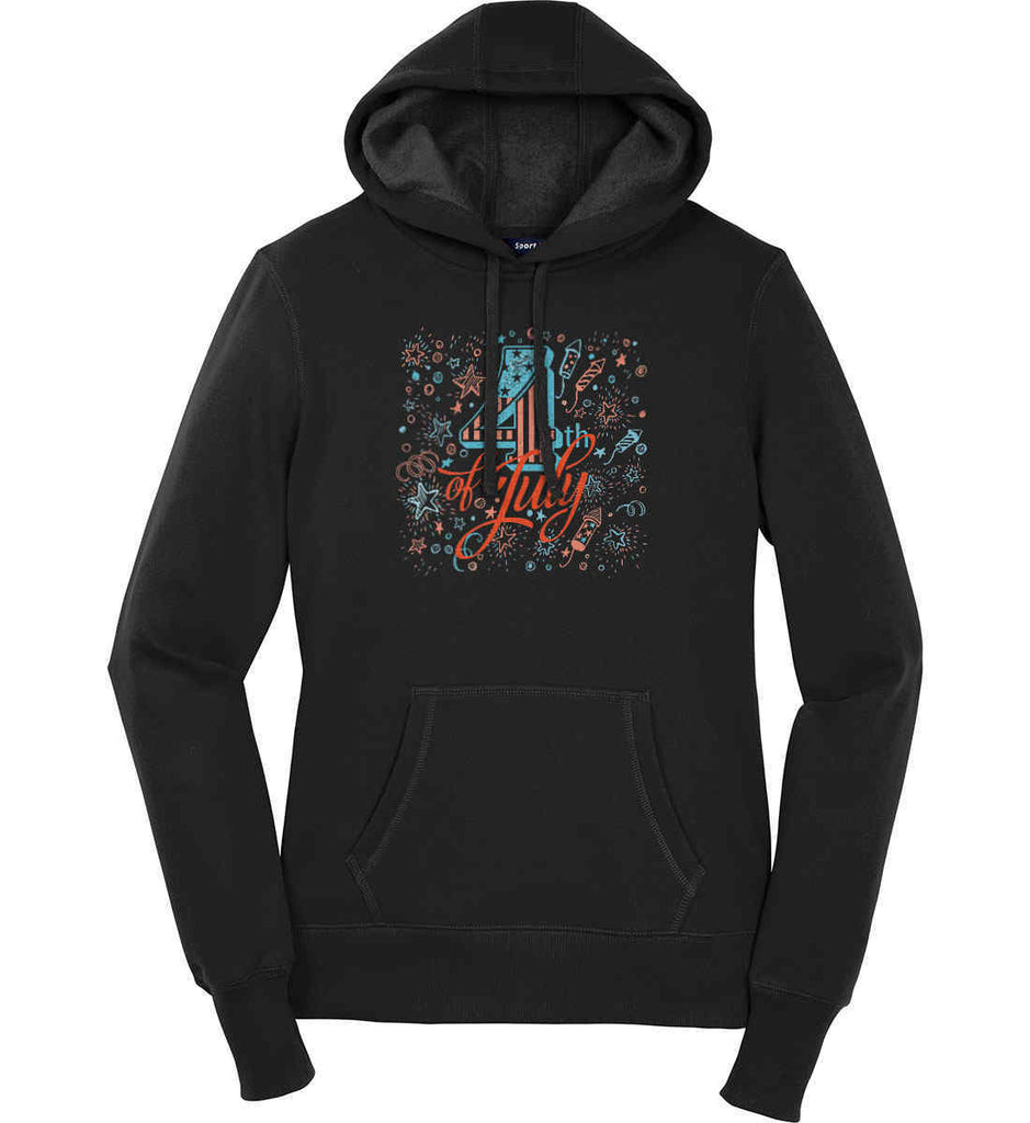 4th of July. Stars and Rockets. Women's: Sport-Tek Ladies Pullover Hooded Sweatshirt.-1