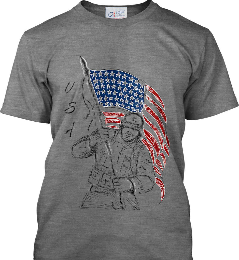 Soldier Flag Design. Black Print. Port & Co. Made in the USA T-Shirt.-2
