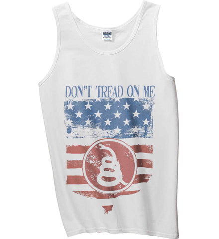 Don't Tread on Me. Rattlesnake. Faded Grunge Shield Gildan 100% Cotton Tank Top.