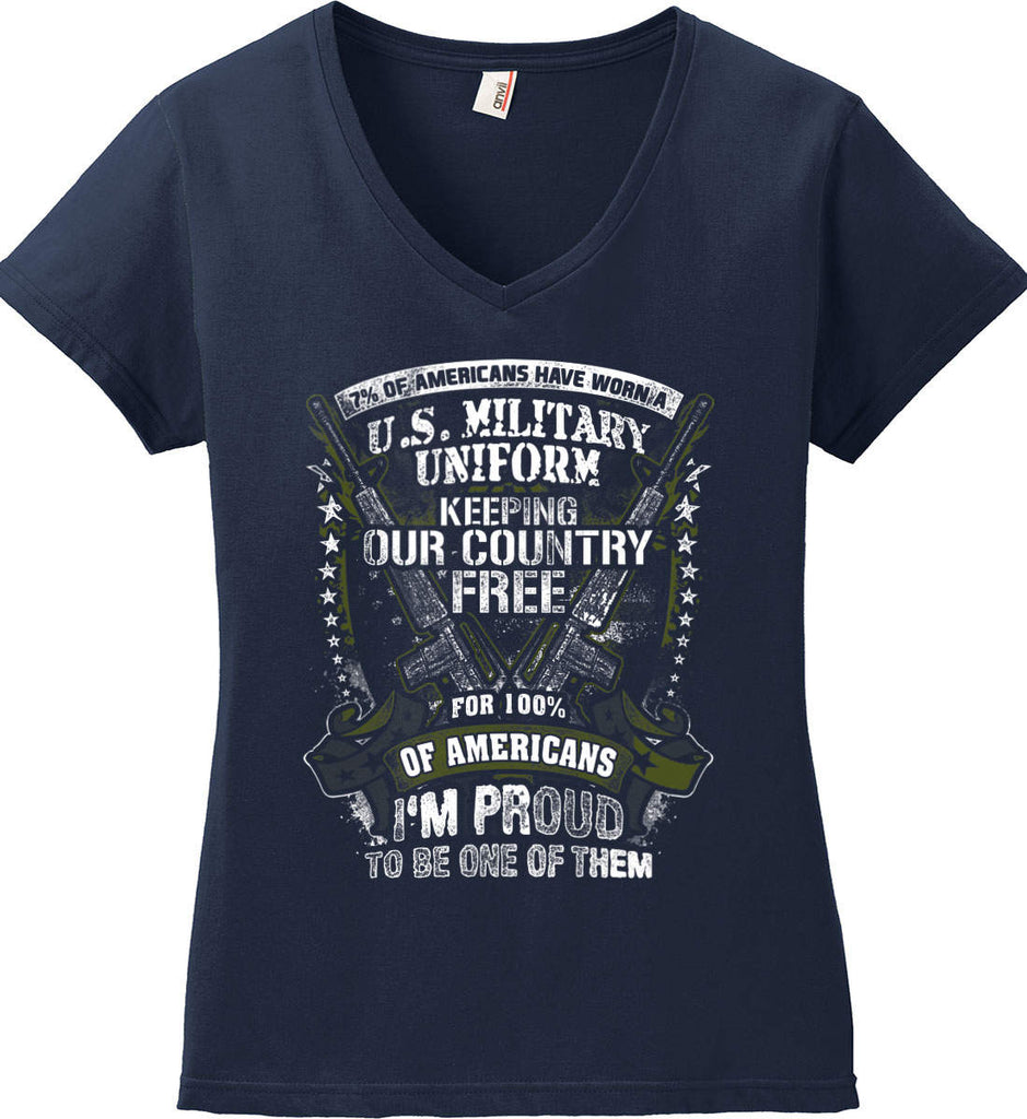 7% of Americans Have Worn a Military Uniform. I am proud to be one of them. Women's: Anvil Ladies' V-Neck T-Shirt.-2