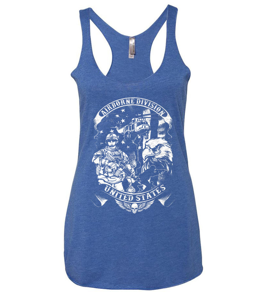 Airborne Division. United States. White Print. Women's: Next Level Ladies Ideal Racerback Tank.-5