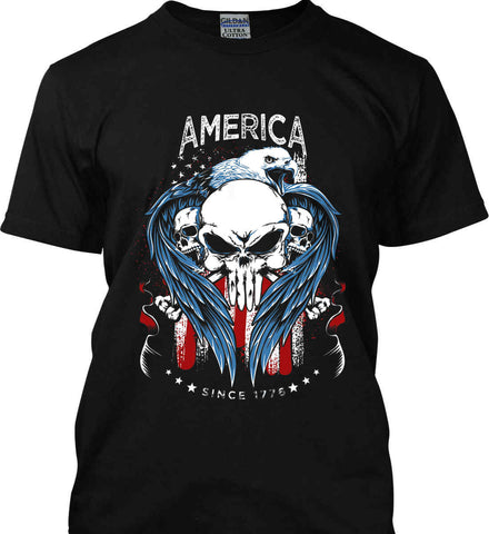 America. Punisher Skull and Bones. Since 1776. Gildan Ultra Cotton T-Shirt.