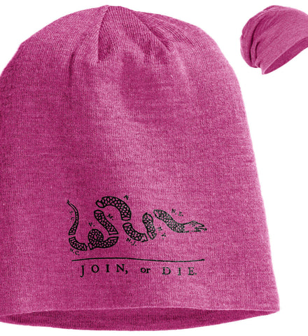 Join or Die Black Design Cap. District Slouch Beanie. (Embroidered)