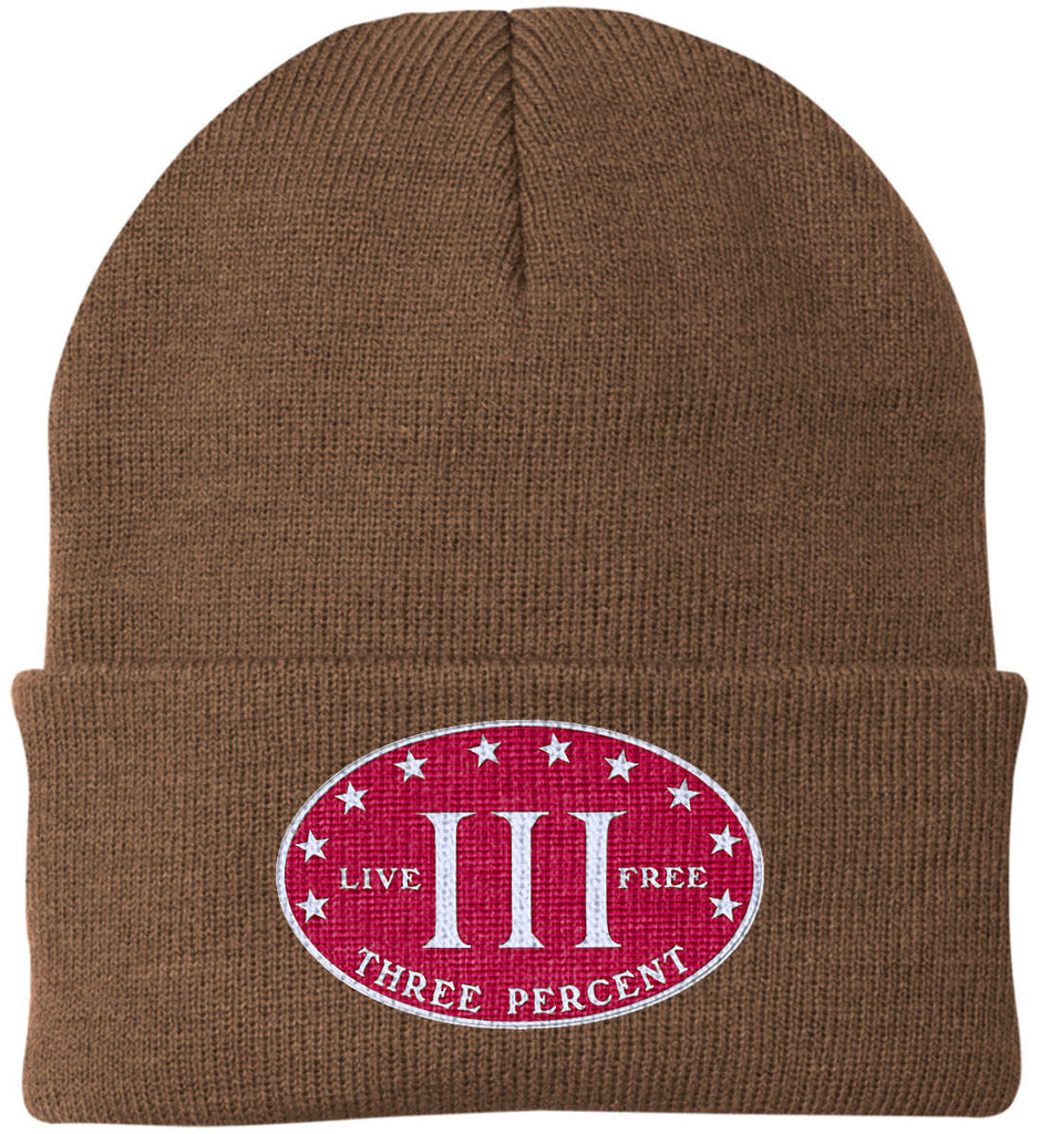 Three Percenter. Live Free. Hat. Port Authority Knit Cap. (Embroidered)-8