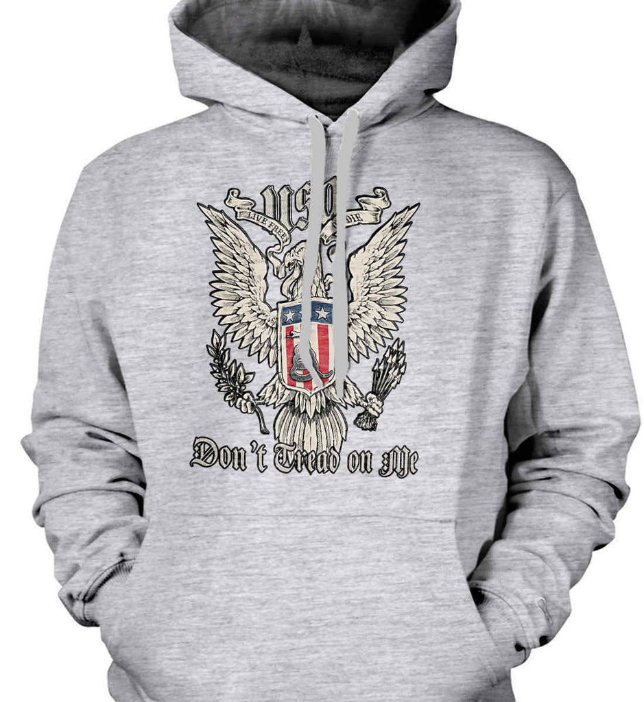 Don't Tread on Me. Eagle with Shield and Rattlesnake. Gildan Heavyweight Pullover Fleece Sweatshirt.-1