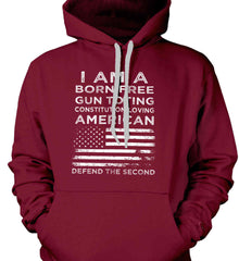 I am a Born Free. Gun Toting. Constitution Loving American. White Print. Gildan Heavyweight Pullover Fleece Sweatshirt.