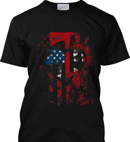 Firefighter Heart. Thin Red Line. Port & Co. Made in the USA T-Shirt.