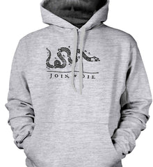 Join or Die. Black Print. Gildan Heavyweight Pullover Fleece Sweatshirt.