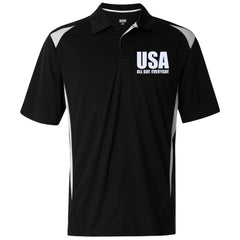 USA. All Day. Everyday. White Text. Augusta Premier Sport Shirt. (Embroidered)