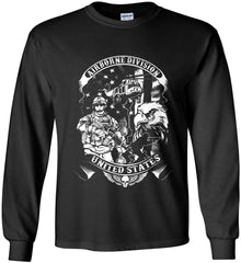 Airborne Division. United States. White Print. Gildan Ultra Cotton Long Sleeve Shirt.