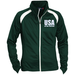 USA. All Day. Everyday. White Text. Women's: Sport-Tek Ladies' Raglan Sleeve Warmup Jacket. (Embroidered)