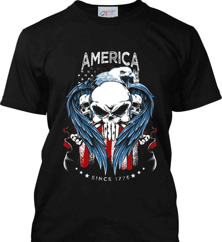 America. Punisher Skull and Bones. Since 1776. Port & Co. Made in the USA T-Shirt.