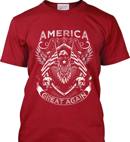 America. Great Again. White Print. Port & Co. Made in the USA T-Shirt.