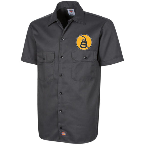 Don't Tread on Me Rattlesnake. Yellow/Black. Dickies Men's Short Sleeve Workshirt. (Embroidered)