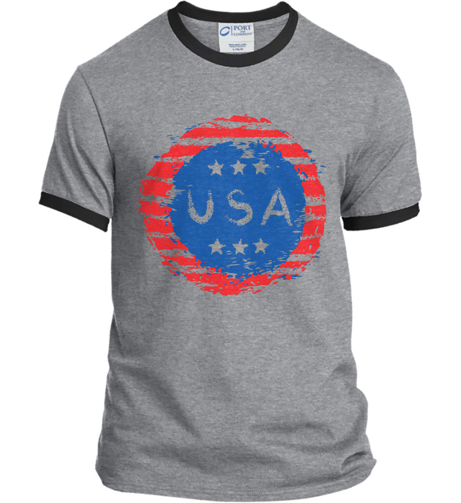 Grungy USA. Port and Company Ringer Tee.-1
