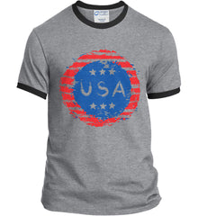 Grungy USA. Port and Company Ringer Tee.
