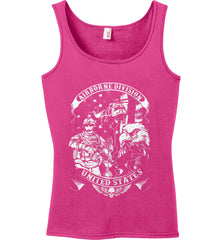 Airborne Division. United States. White Print. Women's: Anvil Ladies' 100% Ringspun Cotton Tank Top.