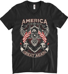 America. Great Again. Anvil Men's Printed V-Neck T-Shirt.