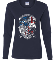 Airborne Division. United States. Women's: Gildan Ladies Cotton Long Sleeve Shirt.