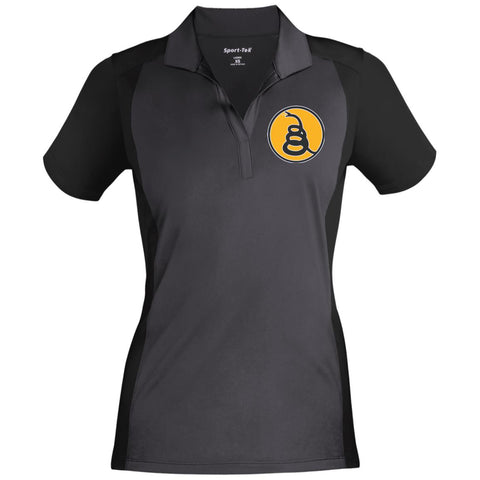 Don't Tread on Me Rattlesnake. Yellow/Black. Women's: Sport-Tek Ladies' Colorblock Sport-Wick Polo. (Embroidered)