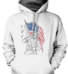 Soldier Flag Design. Black Print. Gildan Heavyweight Pullover Fleece Sweatshirt.