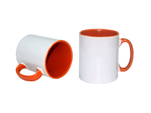 36 x Orange Coloured Inner and Handle Sublimation Mugs