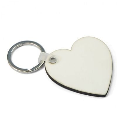 100 x Blank Sublimation MDF Heart Keyrings