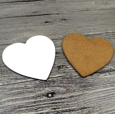 25 x MDF Blank Round Sublimation Heart Coasters 9cm cork backed