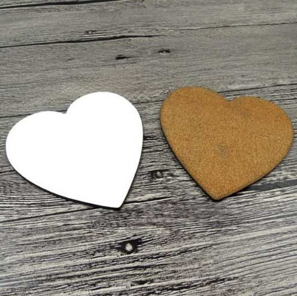 300 x MDF Blank Sublimation Coasters Heart 9cm x 9cm cork backed