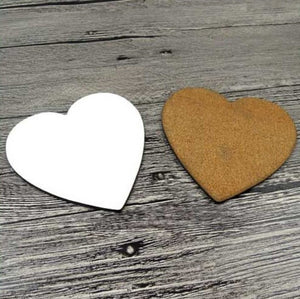 12 x MDF Blank Sublimation Heart Coasters 9cm cork backed