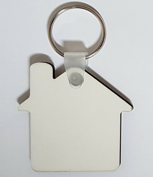 100 x Blank Sublimation MDF Key Rings House