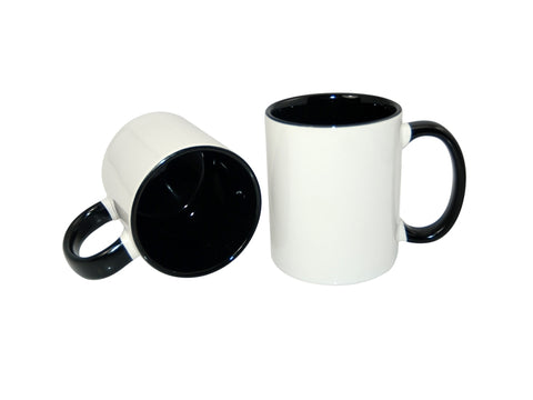 36 x Black Coloured Inner and Handle Sublimation Mugs