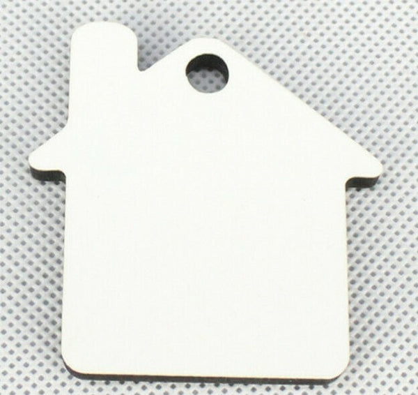 150 x Blank Sublimation MDF Key Rings House