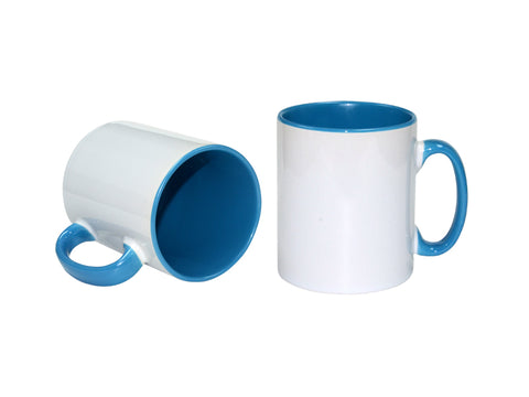 36 x Light Blue Coloured Inner and Handle Sublimation Mugs