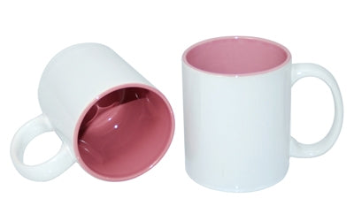 36 x Pink Coloured Inner and white Handle Sublimation Mugs