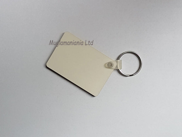 100 x Blank Sublimation MDF Keyrings Rectangle 6cm x 4cm