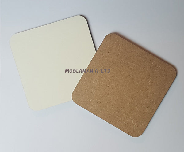 25 x MDF Blank Sublimation Coasters 9cm x 9cm Raw backed