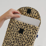 "16"" Puffy laptop sleeve with all over Honey Leopard print from Baggu blues store www.bluesstore.co"