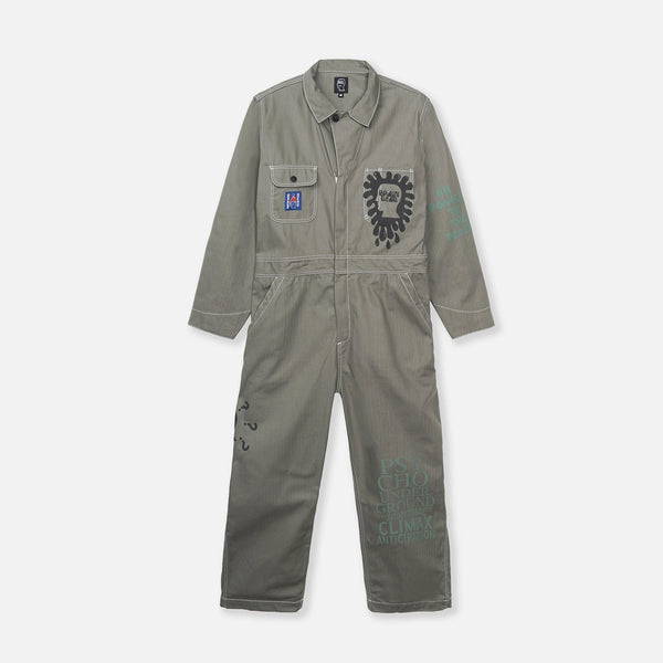 Printed Mechanic Jumper in Olive Green from Brain Dead blues store www.bluesstore.co